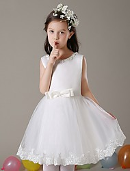 AMGAM A-line Short / Mini Flower Girl Dress - Tulle Scoop with Bow(s)