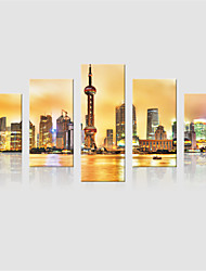JAMMORY Canvas Set Landscape Modern,Five Panels Gallery Wrapped, Ready To Hang Vertical Print No Frame City Sunset