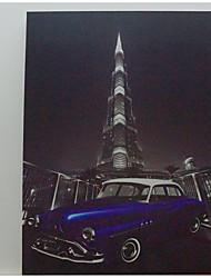 LED Canvas Print,Khalīfa tower & Classic Car