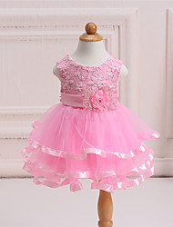 Girl's Formal Solid Dress,Polyester All Seasons Pink / White