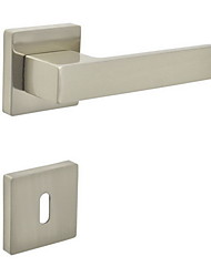 Square Door Lever, Handleset, Door handle with Key Hole Escutchoen Color Brush Nickle