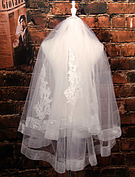 Wedding Veil Two-tier Fingertip Veils Ribbon Edge Tulle / Lace Ivory Ivory