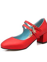 Damen High Heels Pumps PU Frühling Sommer Hochzeit Normal Kleid Party & Festivität Pumps Schnalle Blockabsatz Gold Schwarz Rot Blau7,5 -