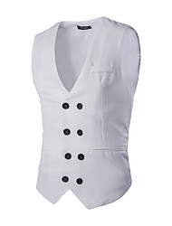 Men's Luxury Slim Double Breasted Suit Vest,Cotton / Spandex Sleeveless Black / White