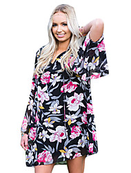 Women's Going out Simple Loose Dress,Print Round Neck Mini ½ Length Sleeve Black Cotton Summer