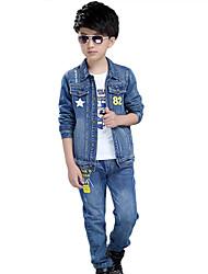 Boy's Cotton Spring/Autumn Fashion Print Long Sleeve Denim Jacket Coat And Jeans Pants kids Two-piece Set