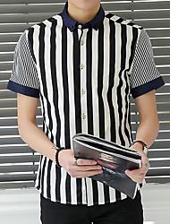 Men's Striped Casual Shirt,Cotton Short Sleeve Black / Blue