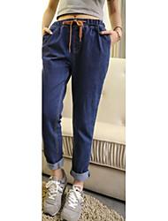 Mulheres Calças Simples Jeans Algodão Micro-Elástica Mulheres