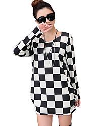 Damen Schachbrett Street Schick Lässig/Alltäglich T-shirt,Rundhalsausschnitt Herbst Langarm Weiß Kaschmir Mittel