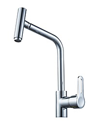 Contemporary Standard Spout Vessel Rotatable with  Ceramic Valve Single Handle One Hole for  Chrome , Kitchen faucet
