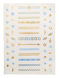 1pc Gold Blue Temporary Metallic Tattoo Jewel Inspired Necklace Star Crown Arrow lightning J01