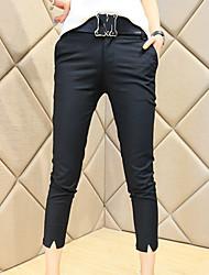Women's Solid Black Slim Pants,Street chic