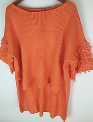 Damen Lang Pullover-Ausgehen Einfach Solide Rot / Weiß / Orange Bateau ½ Länge Ärmel Baumwolle Herbst Mittel