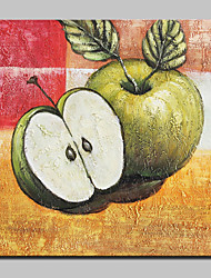 Modern Abstract Hand Painted Green Apple Oil Painting On Canvas Wall Art With Stretched Frame Ready To Hang 100x100cm