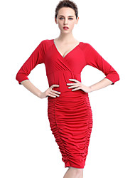 Women's Plus Size / Casual/Daily / Work Street chic Bodycon DressSolid V Neck Knee-length  Sleeve