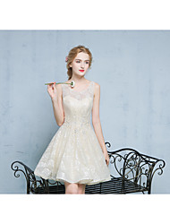 Short / Mini Lace / Satin Bridesmaid Dress Ball Gown Scoop with Appliques / Beading