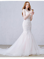 Mermaid / Trumpet Scoop Neck Chapel Train Tulle Wedding Dress with Appliques by DRRS