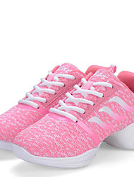 Women's Dance Shoes Sneakers Breathable Synthetic Low Heel Black/Pink
