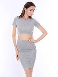 Damen Solide Einfach / Street Schick Ausgehen / Lässig/Alltäglich T-shirt Rock Anzüge,Rundhalsausschnitt Sommer / Herbst Kurzarm Grau