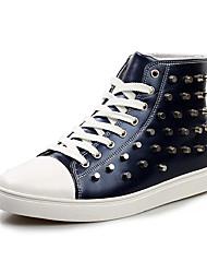 Herren-Flache Schuhe-Lässig-PU-Flacher Absatz-Komfort-Schwarz Blau Weiß