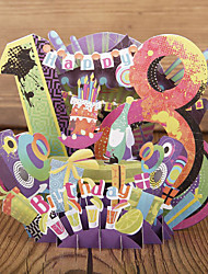 Paper Craft 3D Pop-up Greeting Card For 18th Birthday