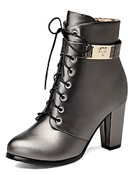 Damen-Stiefel-Kleid-Kunstleder-Blockabsatz-Modische Stiefel-Schwarz Silber Champagner