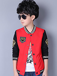Boy's Casual Embroidered Base Ball Color Block Jacket & Coat