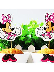 Aniversário Festa Tableware-24Peça/Conjunto Acessório para Bolo Marcador Papel de Cartão Tema Clássico Other Não-Personalizado
