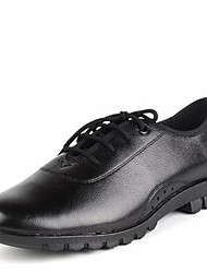 Modern Men's Dance Shoes Heels Breathable Leather Low Heel Black