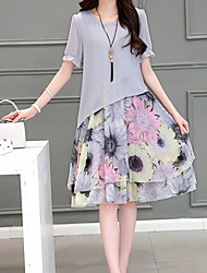 Women's Plus Size Simple Loose Dress,Floral Round Neck Knee-length Short Sleeve Gray Cotton Summer Low Rise Micro-elastic