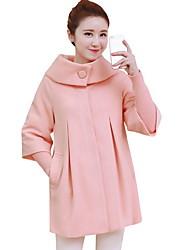 Mulheres Casaco Casual Simples Inverno,Sólido Azul / Rosa / Vermelho / Bege / Preto / Laranja / Amarelo / Roxo Poliéster Colarinho Chinês-