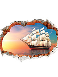 3D Wall Stickers Wall Decals Style Creative Sea Sailing PVC Wall Stickers