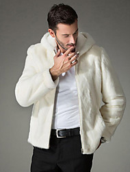 Men's Solid Casual CoatFaux Fur Long Sleeve-White