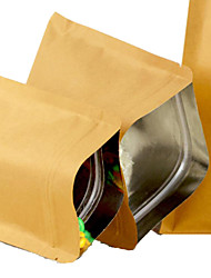 Flat-Bottomed Brown Paper Bags Kraft Paper Sachet Food Snack Bags Ziplock Bags A Pack Of Ten Aluminum 10 * 15