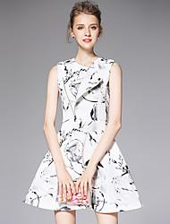 AFOLD® Women's Shirt Collar Sleeveless Mini Dress-C6041