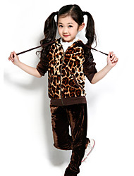 Girl's Cotton Spring/Autumn Casual Brown Leopard Coat And Pants New Style Sports Suits Two-piece Set