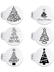6pcs/lots Christmas Trees Decorating Coffee Stencil Plastic Cookie Stencil ST-925