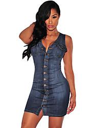 Women's Denim Button Down Sleeveless Dress