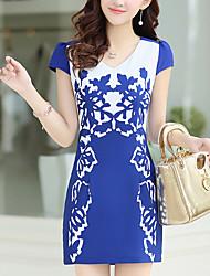 Women's Plus Size / Going out / Vintage A Line Dress,Print V Neck Above Knee Short Sleeve Blue / Black Polyester Summer
