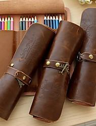 retro fivela couro lápis rolo em relevo sacos de lápis caso cortina de papelaria (padrão aleatório)