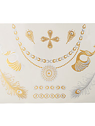 1pc Gold Silver Temporary Metallic Tattoo Jewel Inspired Sexy Luxury Necklace Peacock Wing Heart J43