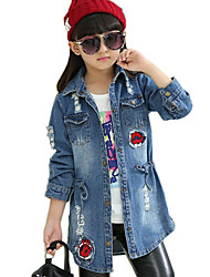 Girl's Cotton Spring/Autumn Fashion Waisting Embroidered Denim Lapel Hole Jacket
