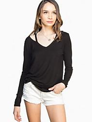 Damen Solide Einfach Ausgehen T-shirt,V-Ausschnitt Frühling / Sommer ¾-Arm Weiß / Schwarz / Grau Andere Dünn