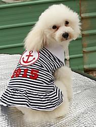 Gatos Cães Camiseta Vestidos Roupas para Cães Verão Primavera/Outono Marinheiro Casual Vermelho Azul