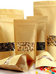 Kraft Window Ziplock Bags Of Nuts, Tea Bags Kraft Paper Bags Of A Self-Sealing Bag Five