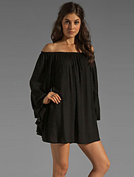 Women's Solid White/Black Dress, Casual/Sexy Off Shoulder Long Sleeve Ruffle Loose