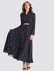 Women's Casual/Daily Vintage Swing Dress,Floral V Neck Maxi Long Sleeve Blue Polyester Fall / Winter