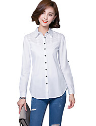 Women's Wild Solid Hollow Embroidered Long White Plus Size Shirt