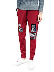 Men's Slim Patch Pattern Sports Harem Pants,Cotton / Polyester Black / Blue / Red