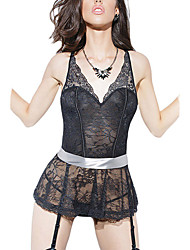 Women Stretch Lace Peplum Corset Ribbon Belt & Garters